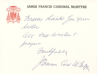 Autographs: JAMES CARDINAL MCINTYRE - AUTOGRAPH NOTE SIGNED