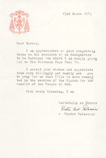 PIETRO CARDINAL PALAZZINI - TYPED LETTER SIGNED 03/23/1973