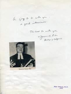 Autographs: BISHOP JAMES A. PIKE - AUTOGRAPH NOTE SIGNED