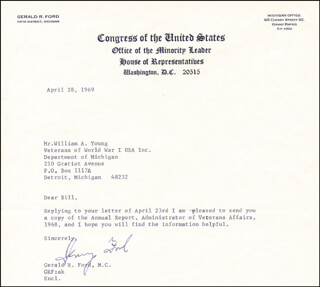 PRESIDENT GERALD R. FORD - TYPED LETTER SIGNED 04/28/1969