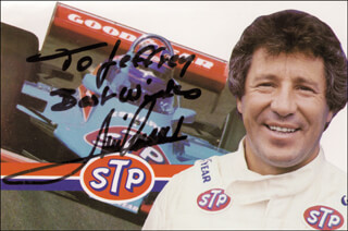 Autographs: MARIO ANDRETTI - INSCRIBED PICTURE POSTCARD SIGNED