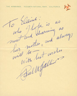 PAUL W. GALLICO - AUTOGRAPH NOTE SIGNED