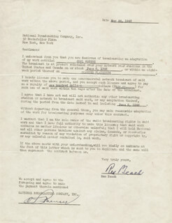 Autographs: REX BEACH - CONTRACT SIGNED 05/22/1946