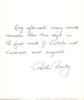 ARTHUR HAILEY - AUTOGRAPH QUOTATION SIGNED