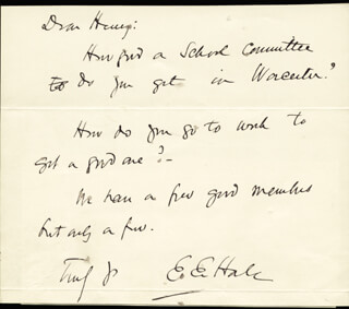 Autographs: EDWARD EVERETT HALE - AUTOGRAPH NOTE SIGNED