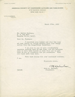 OTTO A. HARBACH - TYPED LETTER SIGNED 03/27/1952