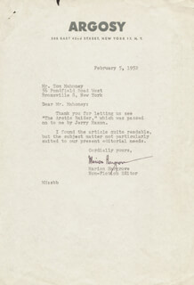 MARION HARGROVE - TYPED LETTER SIGNED 02/05/1952