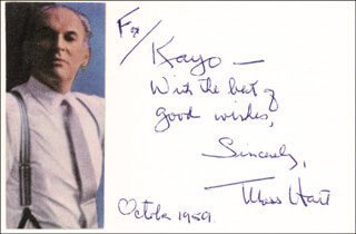 MOSS HART - AUTOGRAPH NOTE SIGNED 10/1959