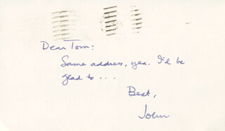 JOHN HERSEY - AUTOGRAPH POST CARD SIGNED CIRCA 1976