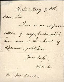 WILLIAM D. HOWELLS - AUTOGRAPH LETTER SIGNED 05/07/1886