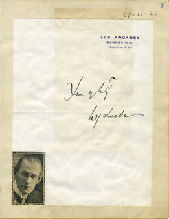 WILLIAM JOHN LOCKE - AUTOGRAPH SENTIMENT SIGNED CIRCA 1926
