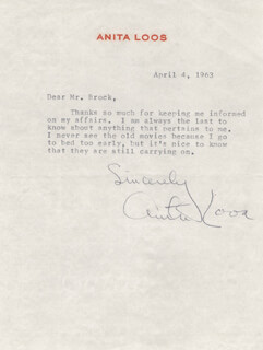 ANITA LOOS - TYPED LETTER SIGNED 04/04/1963