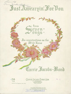 Autographs: CARRIE JACOBS-BOND - SHEET MUSIC SIGNED 1940