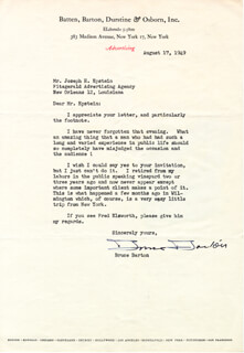 BRUCE BARTON - TYPED LETTER SIGNED 08/17/1949