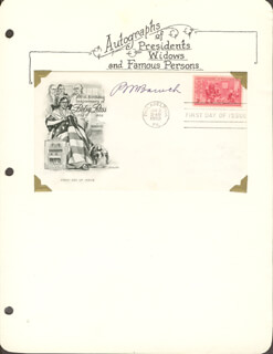 Autographs: BERNARD M. BARUCH - FIRST DAY COVER SIGNED