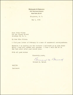 Autographs: BERNARD M. BARUCH - TYPED LETTER SIGNED 05/01/1961