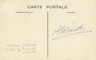 Autographs: ALICIA (MRS. LOUIS) BLERIOT - POST CARD SIGNED 1943