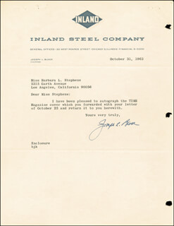 Autographs: JOSEPH L. BLOCK - TYPED NOTE SIGNED 10/31/1963