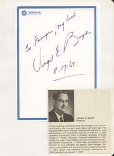 Autographs: VIRGIL E. BOYD - AUTOGRAPH NOTE SIGNED 08/27/1969