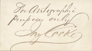 Autographs: JAY COOKE - AUTOGRAPH SENTIMENT SIGNED