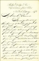 WILLIAM E. DODGE - AUTOGRAPH LETTER SIGNED 05/02/1873