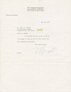 W. T. GRANT - TYPED LETTER SIGNED 05/23/1963