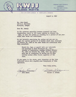 WILBUR J. JERMAN - TYPED LETTER SIGNED 08/05/1949 CO-SIGNED BY: JOHN C. EMMEL