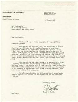 JAMES MARTIN - TYPED LETTER SIGNED 08/16/1977