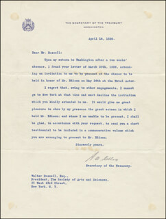 Autographs: ANDREW MELLON - TYPED LETTER SIGNED 04/14/1928