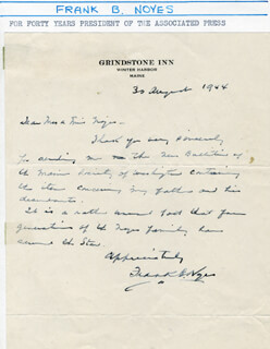 FRANK NOYES - AUTOGRAPH LETTER SIGNED 08/30/1944