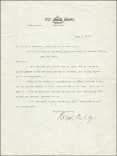 RALPH PULITZER - TYPED LETTER SIGNED 08/07/1916