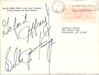 BILLIE JEAN KING - AUTOGRAPH NOTE SIGNED CIRCA 1978