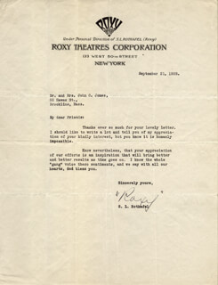 SAMUEL ROXY ROTHAFEL - TYPED LETTER SIGNED 09/21/1928