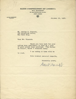 BRIGADIER GENERAL DAVID SARNOFF - TYPED LETTER SIGNED 10/22/1937
