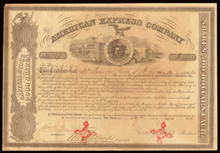 Autographs: THE AMERICAN EXPRESS COMPANY - STOCK CERTIFICATE SIGNED 06/14/1861 CO-SIGNED BY: WILLIAM G. FARGO, HENRY WELLS, ALEXANDER HOLLAND