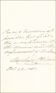 Autographs: MARSHALL P. WILDER - AUTOGRAPH QUOTATION SIGNED 10/23/1861