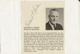 RICHARD E. FORBES - BIOGRAPHY SIGNED