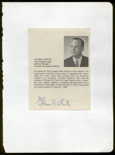 Autographs: GLENN E. WHITE - BIOGRAPHY SIGNED