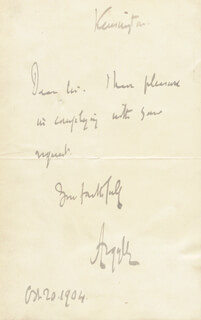 Autographs: JOHN (9TH DUKE OF ARGYLL) CAMPBELL - AUTOGRAPH NOTE SIGNED 10/20/1904