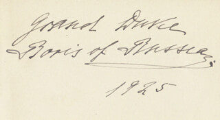 Autographs: GRAND DUKE BORIS - SIGNATURE(S) 1925