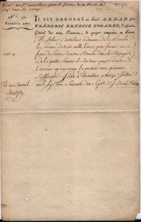 KING CHARLES X (FRANCE) - DOCUMENT SIGNED 07/13/1777