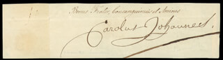 KING CHARLES XIV (SWEDEN) - CLIPPED SIGNATURE  - HFSID 23562