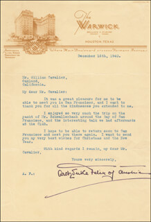 Autographs: ARCHDUKE FELIX - TYPED LETTER SIGNED 12/16/1940