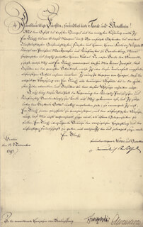 KING FREDERICK WILLIAM III - DOCUMENT SIGNED 11/17/1797