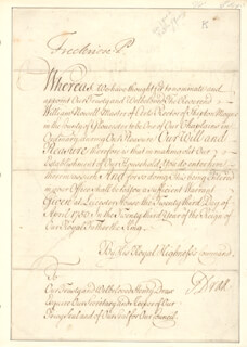 Autographs: FREDERICK (PRINCE OF WALES) LOUIS - CIVIL APPOINTMENT SIGNED 04/23/1750 CO-SIGNED BY: HENRY DRAX