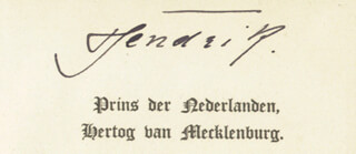 Autographs: PRINCE (DUKE OF MECKLENBURG-SCHWERIN) HENDRIK (NETHERLANDS) - CALLING CARD SIGNED