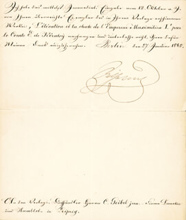 EMPEROR WILLIAM I - MANUSCRIPT LETTER SIGNED 01/27/1868
