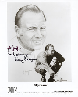 BILLY CASPER - INSCRIBED PRINTED PHOTOGRAPH SIGNED IN INK