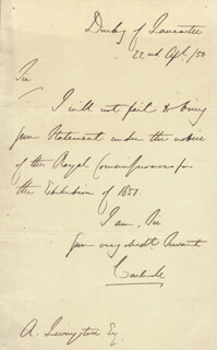 COUNT GEORGE WILLIAM FREDERICK VII EARL OF CARLISLE HOWARD - AUTOGRAPH LETTER SIGNED 04/22/1850