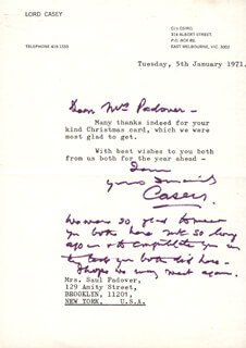Autographs: LORD RICHARD G. CASEY - AUTOGRAPH NOTE SIGNED 01/05/1971